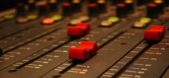 Faders in studio